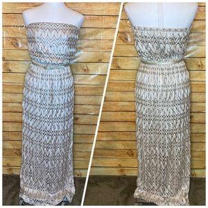 Sans Souci Strapless Belted Gold Lace Maxi Dress M